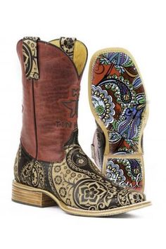 I am kind of liking this new design! Tin Haul Paisley Rocks Boots Urban Western Wear