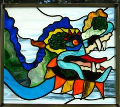 Chinese Dragon Leadlight Glass Art