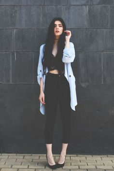 Pale blue and black