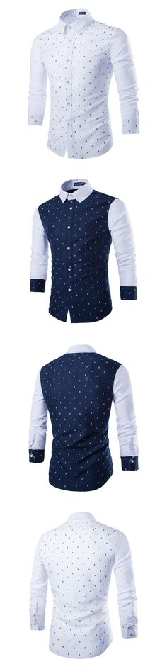 Men's Fashion Skull Print Preppy Style Shirts Casual Long Sleeve Slim Fit Tops Camisa Masculina Cotton Stylish Chemise Homme