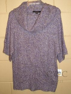Ladies Fever NEW Cowl Neck Sweater Purple SMALL Short Sleeve Pull Over 773