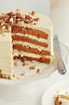 Sweet Potato & Ginger Layer Cake with Toasted Marshmallow Filling, Candied Pecans and Brown Sugar & Cinnamon Buttercream
