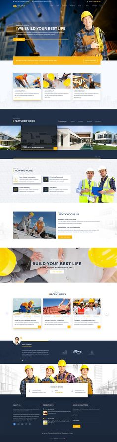 BuildPlus – Building & Construction Business #PSD #Template is created with a deep research & knowledge on the building & #construction business and designed with a modern & clean design.