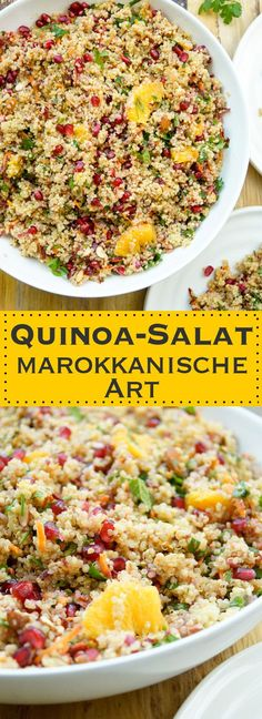 Moroccan quinoa salad recipe with oranges pomegranate almonds mint parsley and capers vegan gluten-free healthy and simple! Elle Republic The post Moroccan quinoa salad appeared first on Tasty Recipes. Vegan Gluten Free, Gluten Free Recipes, Vegan Recipes, Easy Recipes, Healthy Salads, Healthy Eating, Bulgur Salad, Couscous Salad, Quinoa Salad Recipes
