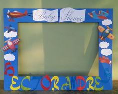 Photo booth frame. Baby shower aviones. Creacion propia.