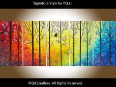 """Original 60"""" Large Art Abstract Painting Landscape and Scenic Painting Palette Knife Impasto Tree Painting Love Birds Painting """"Twilight II""""..."""