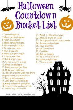 Halloween Countdown Bucket List - The Happier Homemaker. I love Halloween! Halloween Bucket List, Happy Halloween, Halloween Buckets, Halloween Countdown, Holidays Halloween, Halloween Treats, Halloween Diy, Halloween Movies List, 31 Days Of Halloween