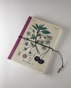 Cherry. Cherry flower. Handmade bind fold notebook, Journal, Diary, Floral motive, Historical illustration, special design wrapp, red yarn