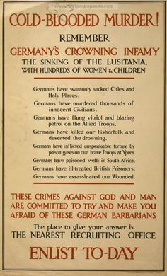 Cold-blooded murder! Remember... Enlist to-day. Date Created/Published: London : Parliamentary Recruiting Committee, 1915. WW1 poster provided by LOC.