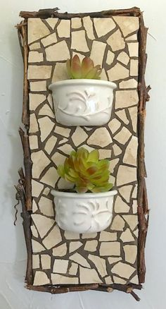 Items similar to Custom Wall Planters-Designed for you, any size, exterior/interior, your china or mine. on Etsy Mosaic Garden Art, Mosaic Flower Pots, Mosaic Pots, Mosaic Wall Art, Tile Art, Mosaic Glass, Mosaic Tiles, Mosaic Mirrors, Mosaics