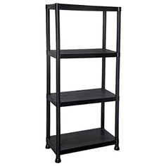 4 Tier Black Plastic Shelving Unit Storage Shelves Garage Shop Warehouse Shed