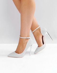 Glamorous Silver Ankle Strap Heeled Pumps