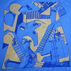 Escher Skate. T-shirt dipinta a mano