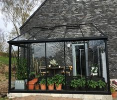 Greenhouse Attached To House, Sunroom Kits, Modern Greenhouses, Greenhouse Plants, Home Greenhouse, House Extension Design, Lean To, Garden Pictures, Glass House