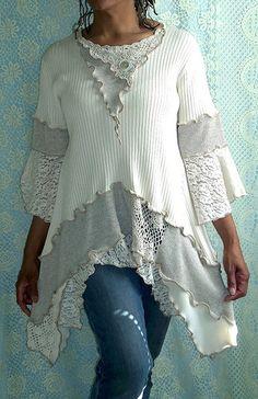 Cream, Beige Ribbed Tunic,   photo by Brenda Abdullah