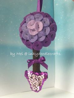 Handmade felt button Purple Bay Tree Christmas by inkydoodlecrafts, £5.50