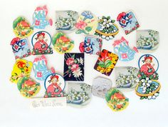 Vintage Spring Flower Birthday Seals Set of 25 by teresatudor, $6.00