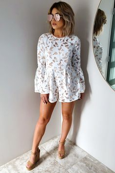 Share to save 10% on your order instantly! Hold Me Close Romper: White/Nude