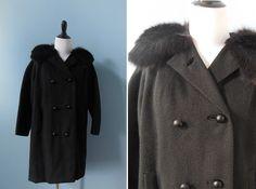 Vintage FUR collar coat WOOL COAT black luxury real fur princess coat by NorthOfMain