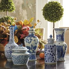 Ming Vases and Jars-Frontgate Living Room built-ins Blue And White Vase, White Vases, Blue Vases, Table Centerpieces, Table Decorations, Art Pass, Rustic Blue, Chinoiserie Chic, Blue Pottery