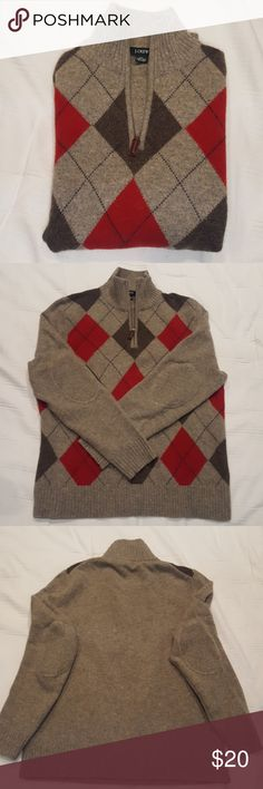 J. Crew Wool Half Zip Argyle Sweater J. Crew 100% lambs wool argyle sweater. Elbow patches.Great condition. Size medium. No snags or stains or pilling. J. Crew Sweaters