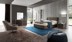 "Modern Italian Bedroom Dado-Dice by ALF. The combination of two contrasting finishes: Tobacco Oak (""Quercia"") and Piombo Smooth Surfaced - characterizes this collection. Dado-Dice Bedroom is outlined with a play of ""grooves"" that can be noticed on the headboard and the casegoods. Dado Dice Bed is available in three US standard sizes and offers matching nightstands, dresser, mirror and chest to accommodate all your clothes and make your bedroom interior complete."