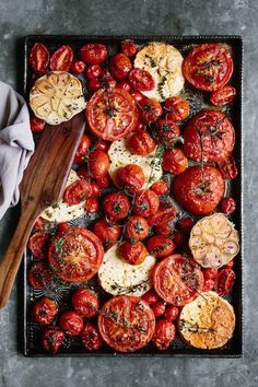 baked tomatoes with feta, garlic and thyme.