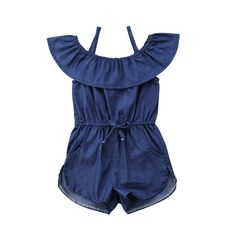 c6f28ad4311 Toddler Baby Kid Girls Clothing Outfit Denim Blue Jean Romper Waisted  Ruffle Collar Sleeveless Jumpsuit Summer Baby Girl 1-6T