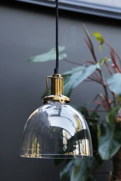 Clear Glass Dome Shade With Brass Fittings - for stairwell