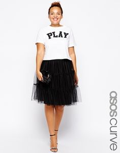 Not a tutu but reminds me of Carrie Bradshaw & the infamous pink skirt in the SATC opening credits. OBSESSED!!!  ASOS CURVE Mesh Tiered Skirt