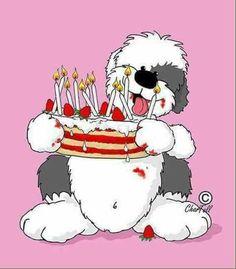 Happy Birthday Happy Birthday Drawings, Happy Birthday Clip Art, Happy Birthday Dog, Happy Birthday Video, Birthday Card Sayings, Birthday Images, Birthday Greetings, Chien Bobtail, Old English Sheepdog Puppy