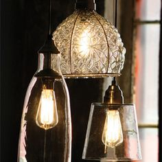 Glass Flared Pendant Lamp by Barn Light Electric. http://www.barnlightelectric.com $97 large clear on the left