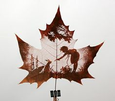 This is cool!! Natural leaf carving is actual manual cutting and removal of a leafs surface to produce an art work on a leaf. The process of carving is performed by artists using tools to carefully remove the surface without cutting or removing the veins.