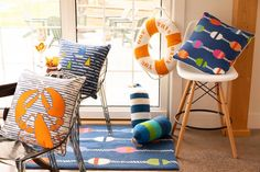 Nautical Decorative Pillows and Rug by Peking Handicraft Handicraft, Decorative Pillows, Nautical, Rugs, Chair, Beach, Furniture, Home Decor, Craft