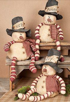 Primitive Snowman Dolls - Set of Primitive Whimsy Snowmen With Hats