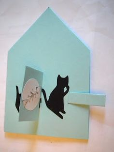 cute cat and fish pop up card