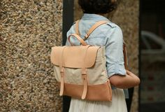 Handmade Leather messenger bag backpack canvas for men women leather s | EverHandmade