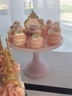 Pink stacked macarons at a Paris birthday party! See more party ideas at… Paris Themed Birthday Party, New Birthday Cake, 16th Birthday, Paris Birthday Cakes, Birthday Nails, Pink Dessert Tables, Dessert Table Birthday, Paris Party Decorations, Birthday Party Decorations
