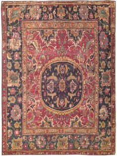 Antique 17th Century Silk and Wool Esfahan Persian Rug 8034