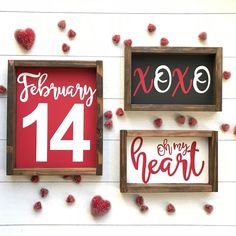 valentine decorations 155303887183931814 - Set of Red Valentine's signs. Three Valentine's wood sign. F Source by etsy My Funny Valentine, Red Valentine, Valentine Day Crafts, Happy Valentines Day, Holiday Crafts, Valentines Day Presents, Valentine Ideas, Holiday Ideas, Christmas Gifts
