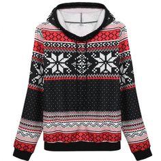 Meaneor Women Fashion Casual Loose Print Hooded Pullover Sweatshirt Hoodie