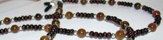 Brown Tiger Iron & Black Wooden Beaded Eyeglass Chain by nonie615, $12.00