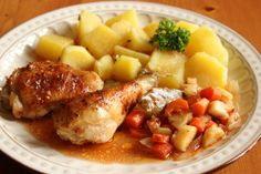 Šťavnaté pečené kuře na zelenině Poultry, Potato Salad, Pork, Potatoes, Ethnic Recipes, Sweet, Arizona, Kale Stir Fry, Candy