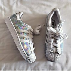 premium selection c666a e01c9 shoes adidas holographic holographic shoes adidas superstars sparky shiny  trainers cute white shoes Nike Roshe,
