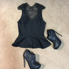 Lace peplum top High neck, beautiful black peplum top. Open back with tie. Only worn once. Charlotte Russe Tops Tank Tops