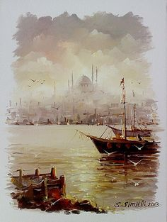 Simitli Art And Illustration, Your Paintings, Beautiful Paintings, Oil Painting On Canvas, Painting Frames, Landscape Art, Landscape Paintings, Small Sailboats, Art Watercolor