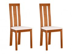 Conjunto de 2 sillas de haya maciza color roble DOMINGO Mousse Polyuréthane, Decoration, Dining Chairs, Pvc, Dimensions, Design, Furniture, Home Decor, Products