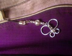 Silver Pearl and Butterfly Phone / Purse Charm by ElementalKarma, $10.00