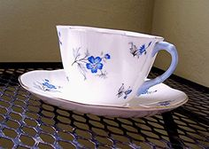 Shelley China Teacup Dainty Blue Charm Cup and Saucer by viAnneli, Etsy,  ♥cc✿