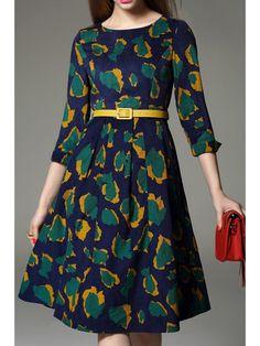 Print Jewel Neck 3/4 Sleeve Midi Dress - GREEN M Mobile